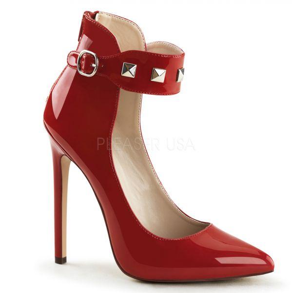 SEXY-31 rot Lack     Stiletto High-Heels in rot Lack mit breitem, nietenbesetztem Fesselriemchen